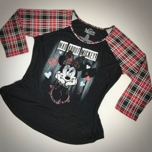 Graphic Top Shirt 2XL Minnie Mouse Black Red NWOT